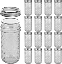 LEQEE Mason Jars 12 oz Mini Canning Jars with Silver Lids and Bands Regular Mouth Jelly Jar for Jam, Honey, Wedding Favors...
