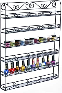 6 Tier Nail Polish Organizer, Holds Up to 60 Jars or 120 Bottles, Essential Oil Organizer, Nail Polish Holder, nail Polish Wall Rack - Shelf Storage Organizer Wall Mount - AMT Supply LLC (60B, BLACK)