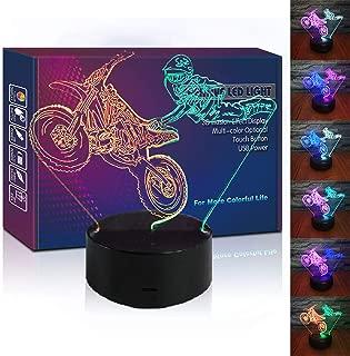 HIPIYA Motorcycle LED 3D Illusion USB Motorbike Night Light Motocross Lamp Christmas Present Dirt Bike Birthday Gift for Sports Player Fan Men Boyfriend Boy Kid Bedroom Decoration Room Decor (Moto)