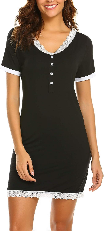 ADOME Womens Nightshirt V Neck Sleepwear Shirts Loose Short Sleeve Button Sleep Tee Sexy