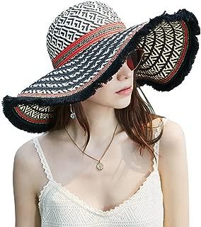 Riorex Women's Wide Brim Straw Hat Bohemia Style Beach Vacation Sun hat