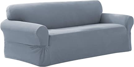 Maytex Pixel Ultra Soft Stretch Couch Furniture Cover Slipcover, Sofa, Steel Blue