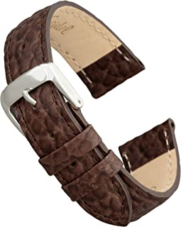 Genuine Leather Watch Band with Stainless Steel Buckle - Available in Multiple Strap Colors, Lengths & Widths 12-28MM