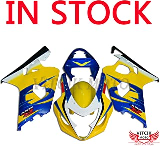 VITCIK (Fairing Kits Fit for Suzuki GSX-R750 GSX-R600 K4 2004 2005 GSXR 600 750 K4 04 05 Plastic ABS Injection Mold Complete Motorcycle Body Aftermarket Bodywork Frame (Yellow & Blue) A062