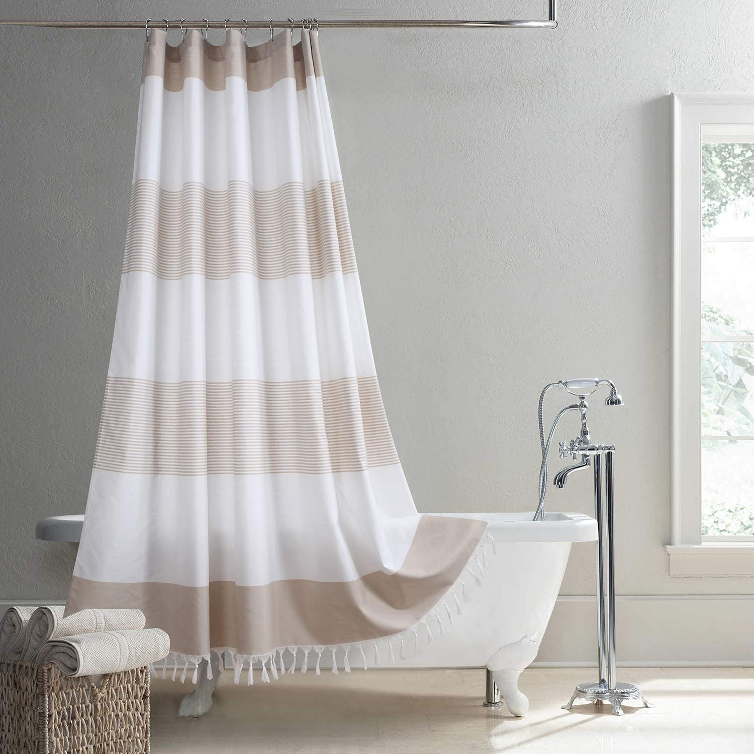 Ranking TOP3 Free shipping DS Curtain Suson Taupe Yarn Fabric Stripes Polyester Dyed Waterp