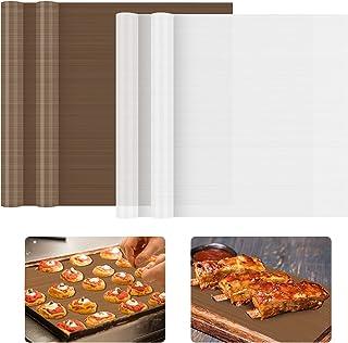 Papier Cuisson Réutilisable, KEELYY 4 Pièces Cuisson Anti-adhésifs Papiers de Cuisson Durables 29g/40 X 30 cm Lavable Déco...