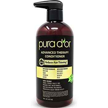 PURA D'OR Advanced Therapy Conditioner - For Increased Moisture, Strength, Volume & Texture, No Sulfates, Made with Argan Oil & Biotin, All Hair Types, Men & Women, 16 Fl Oz (Packaging may vary)