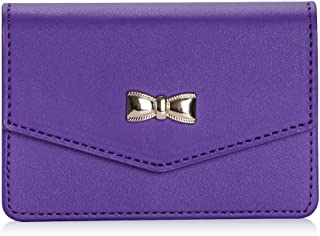 FYY Business Card Holder, Handmade Premium Leather Business Name Card Case Universal Card Holder with Magnetic Closure (Hold 30 pics of Cards) Purple