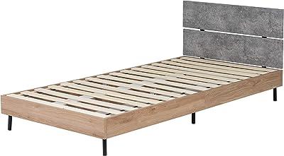 Lynd(リンド) ベッド 海外風 ベッドフレーム シングル シンプル すのこ 木製 スチール脚 おしゃれ ベッド下 コンクリート CC/PNA