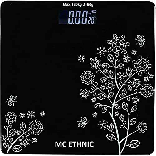 MC ETHNIC Heavy Thick Tempered Glass LCD Display Digital Personal Bathroom Health Body Weight Weighing Scales For Body Weight Weight Scale Digital For Human Body Flower Design Bathroom Scale
