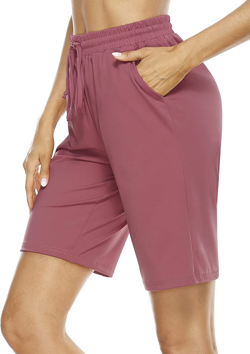 CHICHO Women's Bermuda Shorts Lounge Running Athletic Workout Stretch Long Short with Pockets