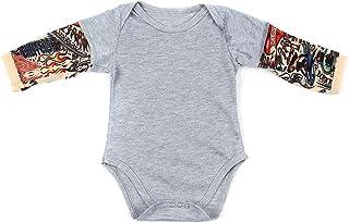 DaMohony Nyfödd bebis sparkdräkt småbarn pojkar flickor tatuering tryck långärmad jumpsuit bodysuit