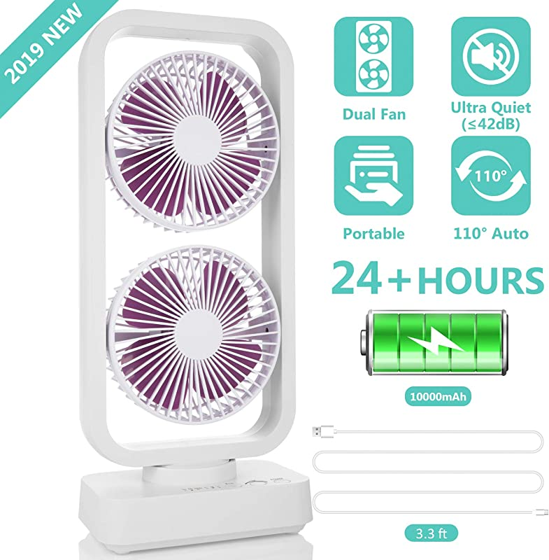 2019 New Portable Tower Fan 10000mAh Cordless Oscillating Desk Fan With Dual Air Circulation System 6 24H Ultra Quiet Powerful Cooling Fan For Office Home Travel Camping And Outdoor Activities