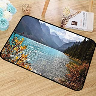Cottage Decor Collection Area Rug Lake Louise Banff National Park Canada with Sharp Mountains Autumn Plants and Tree View Anti-Static W67 x L78 Blue Olive Goldenrod
