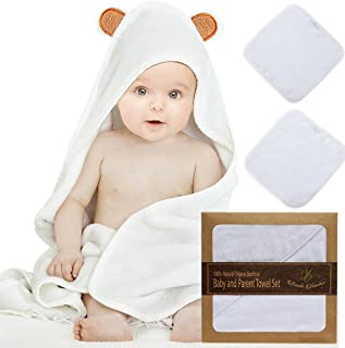 Bambi Bamboo Baby Hooded Towel & 2 Washcloth Family Set, Bear Ears, Cashmere Soft 4X More Absorbent, Antibacterial,Hypoallergenic, Shower Gift Baby Registry