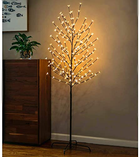 new arrival Twinkle Star 6 FT lowest Pre-lit Cherry Blossom Tree with 208 LED Lights for Home Festival Party Wedding Indoor outlet sale Outdoor Christmas Decorations (Warm White, 2 Pack) online