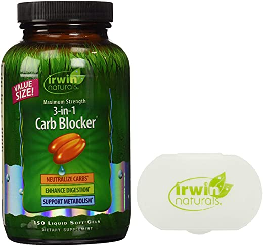 Irwin Naturals 3-in-1 Carb Blocker, Appetite Control Metabolism Support Supplement - 150 Liquid Softgels Bundle with a Pill Case