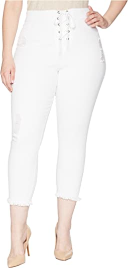Plus Size High-Waist Lace-Up Shipwrecked Denim Capris