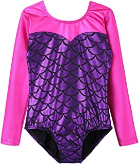 BAOHULU Girls Leotards Gymnastics Shiny Fish Scale Print Dance Clothes