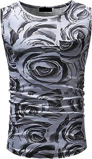maweisong メンズスリムフィット花柄ノースリーブタンクトップシャツジャケット