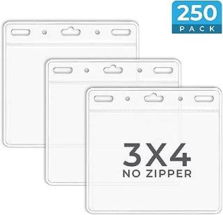 Mata1 Plastic Horizontal ID Card Holder (Clear, 3x4 Inch, 250 Pack), Large Size No Zipper Name Badge