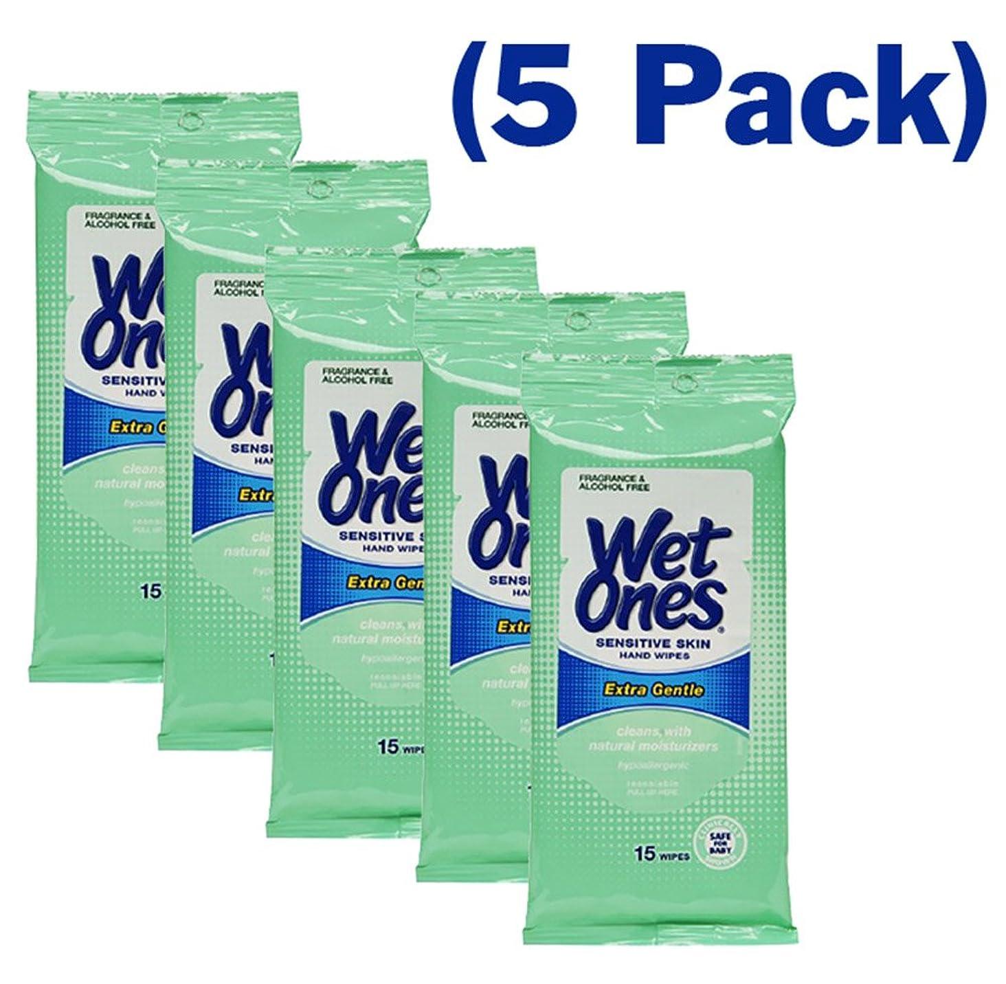 強制的媒染剤即席ウェットワン モイストワイプ 手と顔用 20枚入りトラベルパック (5パック) 合計100枚