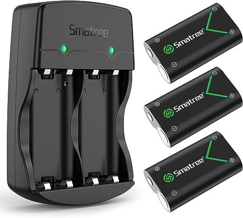 Smatree Batería de Controlador Xbox One, Batería Recargable 2000mAh NI-MH Cargador de Batería Dual para Xbox One/Xbox...