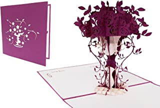LIN Pop Up Greeting Cards Thank You Cards purple