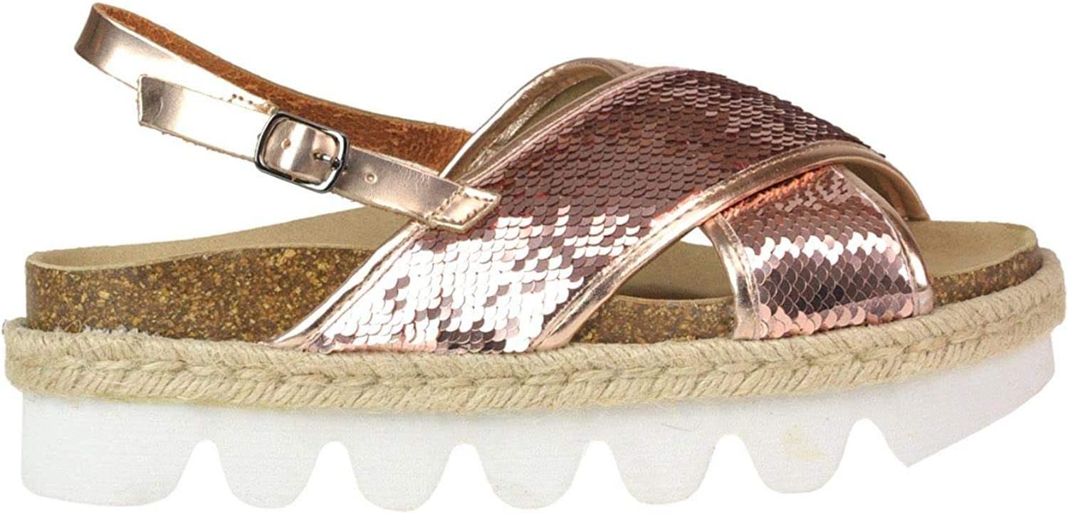 COLORS OF CALIFORNIA Women's MCGLCAB000005115E Pink Faux Leather Sandals