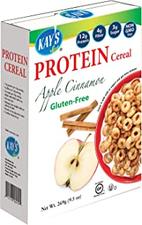 Kay's Naturals Protein Breakfast Cereal, Apple Cinnamon, Gluten-Free, Low Fat, Diabetes Friendly All Natural Flavorings, 9...