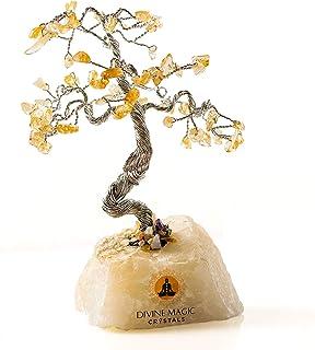 Divine Magic Handmade Crystal Money Tree Citrine for Wealth, Prosperity and Success | Bonsai Tree Decor Spiritual Gifts fo...
