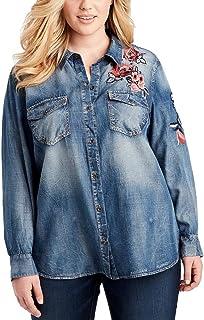 Jessica Simpson Trendy Plus Size Embroidered Denim Shirt