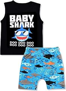 Baby Boy Clothes Birthday Shark Doo Doo Doo Print Summer Cotton Sleeveless Outfits Set Tops + Short Pants