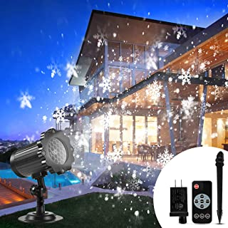 Christmas Projector Lights Outdoor, B-right Snowflake Projection Lights Waterproof LED Christmas Snow Lights with Remote Control, Sparkling Landscape Decorative Lighting for Xmas Thanksgiving Party