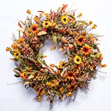 """JINGHONG Fall Front Door Wreath,24"""" Artificial Floral Wreath with Colorful Daisies and Autumn Foliage Fall Orange Wreath f..."""