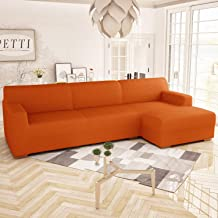 PETTI Artigiani Italiani Corner Sofa Cover, Orange, Left (250 cm) for 3 Seater