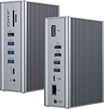Docking Station, OKX Upgraded 16 in 1 Quadruple Display USB C Docking for USB-C Laptops, 65W Charging for Laptop, Dual 4K HDMI, VGA, 1Gbps Ethernet, 5Gbps USB-C 3.0, SD/TF, USB-C Gen2, 3.5mm Audio&Mic
