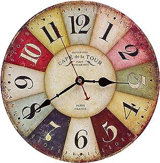 Asvert Reloj de Pared Silencioso Retro de Madera VintageReloj Pared 30cm Reloj Numérico para Cocinala Sala de Estar Dor...