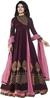 Ethnic Yard Womens Silk Anarkali Embroidered Semi-Stitched Salwar Suit…