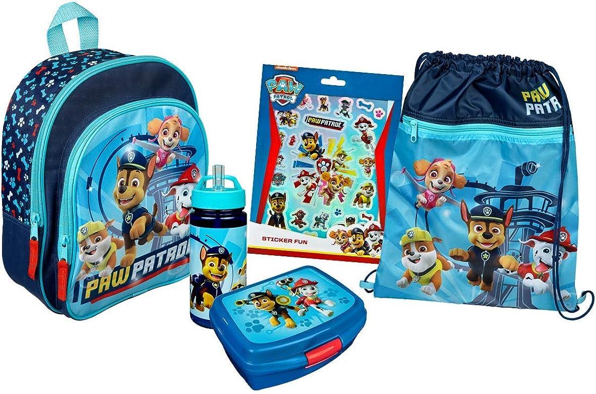 Juego de mochila de la Patrulla Canina, para niños y niñas, 5 piezas, con mochila, bolsa de deporte, fiambrera, botella de agua, juego de pegatinas, color azul