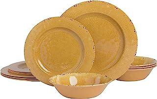 Gibson Studio 12 Piece Mauna Melamine Dinnerware, Golden Yellow