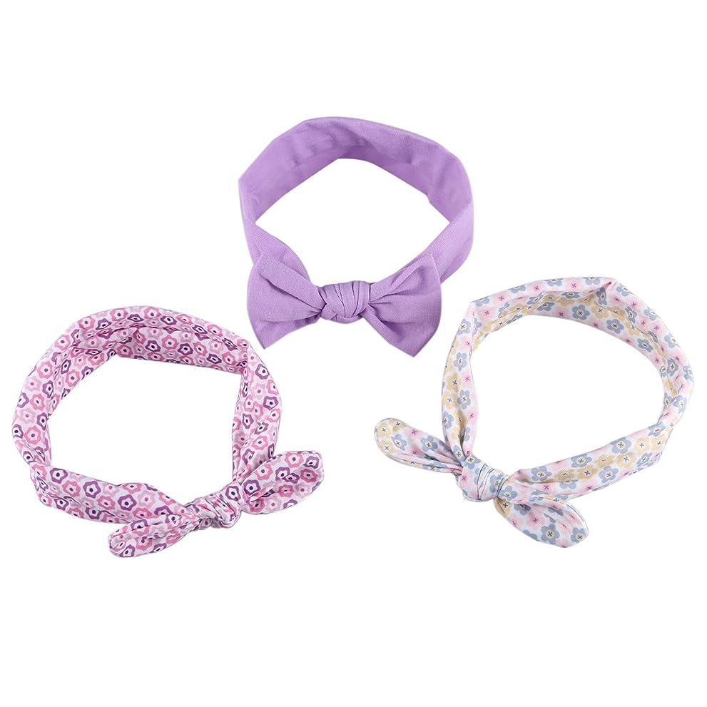 司書過半数再集計Nrpfell 3個/セット ウサギの耳の子供のヘッドバンド かわいい お嬢様の蝶ネクタイのヘア飾り 髪の花のヘッドバンド 女の子のヘアアクセサリー#3