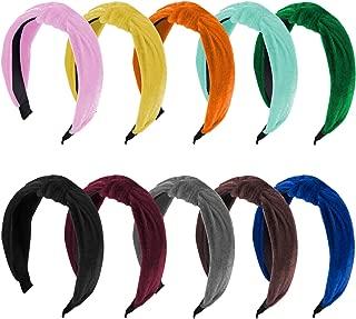 SIQUK 10 Pieces Knot Headband Velvet Twist Knot Turban Headbands for Women and Girls, 10 Colors