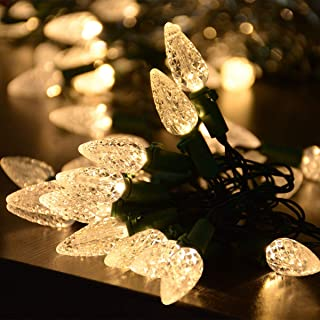 Awinking 50 LED C3 Bulbs Christmas Lights Battery Operated, 16.7Ft Warm White Strawberry Christmas Lights, Green Wire Christmas Tree Lights for Christmas Party, Wedding, Bedroom, Patio, Garden, Yard
