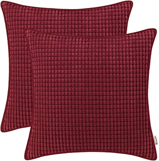 BRAWARM Pack of 2 Cozy Throw Pillow Covers Cases for Sofa Couch Bed Comfortable Soft Corduroy Corn Striped with Piping Both Sides for Home Decoration 18 X 18 Inches Burgundy