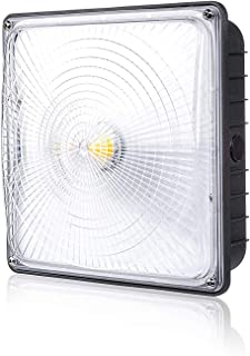 """Parmida LED Canopy Light, 70W, Dimmable, 8400lm, 110-277VAC, IP65 Waterproof, DLC-Qualified & ETL-Listed, 5000K, 9.6"""" x 9.6"""", Gas Station, Street, Area & Outdoor Lighting, Commercial Grade"""