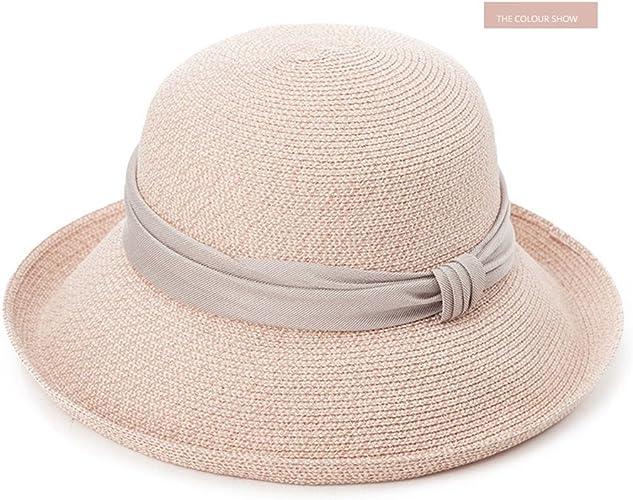 GUO-Hat Tendances estivales féminines Chapeau de bronzage Chapeau de plage pliable Prougeection UV Large Coussin Manchettes Chapeau pliant Bowknot élégant réglable