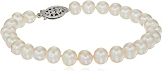 """Sterling Silver White Freshwater Cultured A-Quality Pearl Bracelet (6.5-7mm), 7.25"""""""
