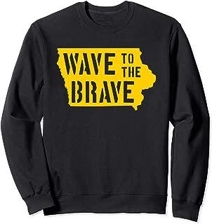 Iowa Wave to the Brave Stencil Letter Black Gold Beat Cancer Sweatshirt