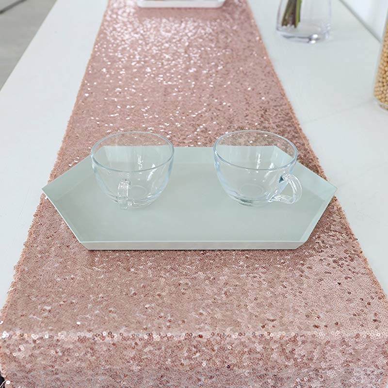 Rose Gold Sequin Table Runner Sparkly Table Runner For Wedding 12x120inch